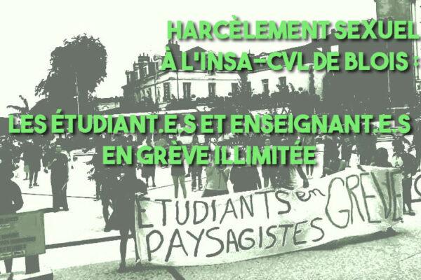 Harcèlement sexuel à l'INSA CVL de Blois : les étudiantEs et enseignantEs en grève illimitée