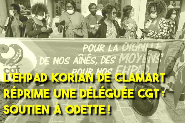 L'Ehpad Korian de Clamart réprime une déléguée CGT : soutien à Odette !